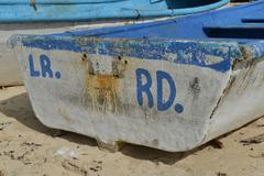 boat of macao beach, punta cana, dominican republic - stock photo