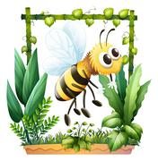 Stock Illustration of A bee in the garden