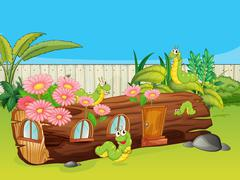 Caterpillars and a wood house Stock Illustration