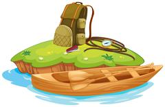 vaious objects for camping and a canoe - stock illustration