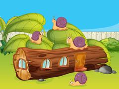 Snails and a wood house Stock Illustration