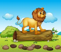 A lion standing above a trunk of a tree Stock Illustration