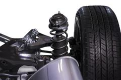 wheel and shock absorber - stock photo