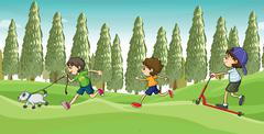 Children running with a dog Stock Illustration