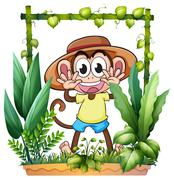 A young and playful monkey Stock Illustration
