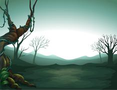 A dark view of the forest - stock illustration