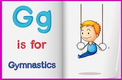 Stock Illustration of A picture of gymnastics in a book