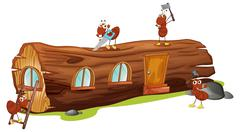 Ants and a wood house Stock Illustration