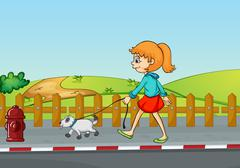 A girl walking with her dog Stock Illustration