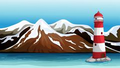 Tall building in the sea Stock Illustration