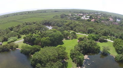 Tropical park aerial view Stock Footage