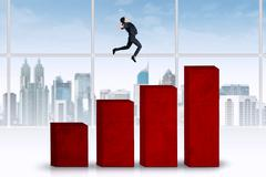 woman jumps over business graph - stock illustration