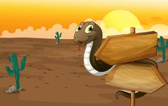 A snake and notice board Stock Illustration