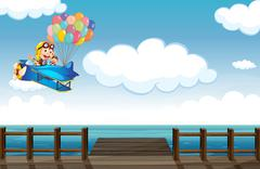 A boastful monkey flying on a plane Stock Illustration