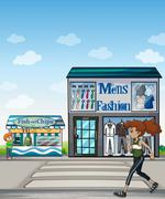Jogger and stores - stock illustration