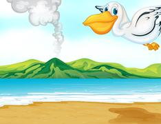 A volcano beach and a flying bird Stock Illustration