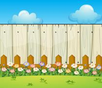A backyard with flowers - stock illustration