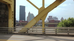 Scenic City View Of Pittsburgh, Pennsylvania, USA Skyline From Bridge HD - stock footage