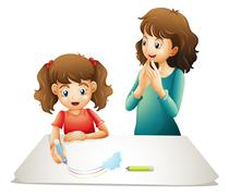 Mom and kid Stock Illustration