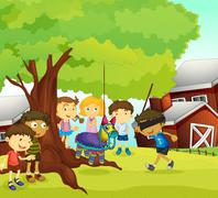 kids playing in nature - stock illustration