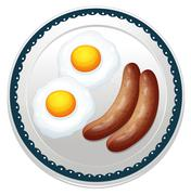 an egg omelet and sausages - stock illustration