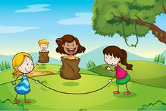 Stock Illustration of girls playing in nature