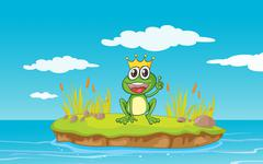 illustration of a frog and a water in a beautiful nature - stock illustration