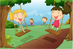 illustration of kids playing in a beautiful nature - stock illustration