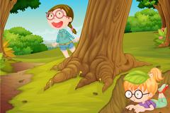 Illustration of girls playing in  hide and seek in nature Stock Illustration