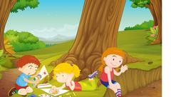 Stock Illustration of illustration of kids playing in a beautiful nature