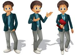 three boys - stock illustration