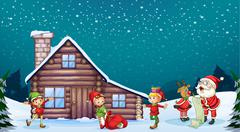 A santa clause, kids and a reindeer Stock Illustration