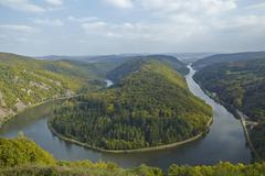 mettlach (saarland, germany) - saar loop - stock photo