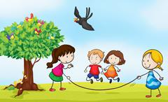 illustration of kids and a tree in a beautiful nature - stock illustration