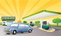 Stock Illustration of illustration of a house and gas station in a beautiful nature