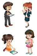 kids with various activities - stock illustration