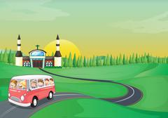 Illustration of a bus and kids in a beautiful nature Stock Illustration