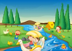 illustration of a river and kids in a beautiful nature - stock illustration