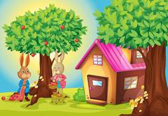Illustration of a rabbit and a house in a beautiful nature Stock Illustration