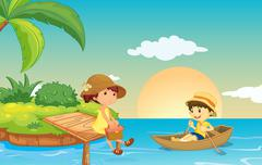 Stock Illustration of illustration of a river and kids in a beautiful nature
