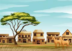 Horses and a house Stock Illustration