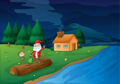 Stock Illustration of illustration of santa clause and an elve in nature