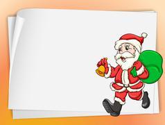 paper sheets and santa - stock illustration