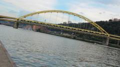 Fort Pitt Bridge Over The Monongahela River In Pittsburgh, Pennsylvania, USA HD Stock Footage