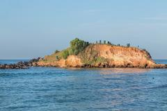 Big rock with viewpoint on both sides of weligama bay in sri lanka. Stock Photos