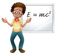 Stock Illustration of boy showing white board