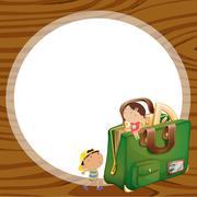 Stock Illustration of kids and school bag