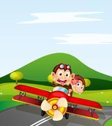 Monkey and aeroplane Stock Illustration