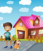 boy, dog and house - stock illustration
