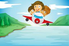 Kids and aeroplane Stock Illustration